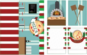 iWallz decoratiestickers Pizzeria 6-delig