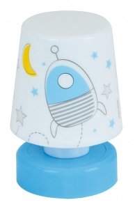 Jemini nachtlamp Pusher Space jongens 11 cm wit/blauw