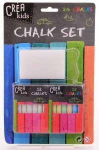 Johntoy Crea Kids blackboard crayons with brush 24 pieces