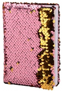 Johntoy notebook with sequins A6 pink/gold