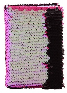 Johntoy notebook with sequins A6 pink/black
