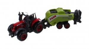 Johntoy tractor rood die-cast 3-delig Farm Masters