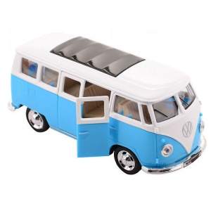Johntoy Volkswagen Bus T1 1:30 die-cast pull back bleu
