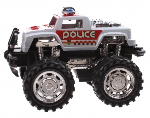 Jonotoys politiemonstertruck The Wind 12 cm wit/rood