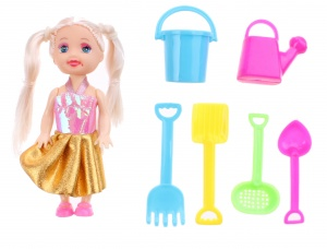 Jonotoys girl in the beach 7-piece pink/gold
