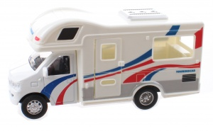 Jonotoys Touring Car camper 12,5 cm diecast wit/blauw/rood