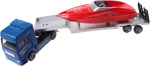 Jonotoys Heavy Duty truck with red speedboat 29 cm