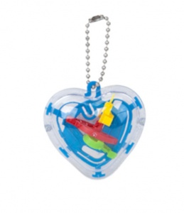 Kamparo keychain heart with game 5 cm blue
