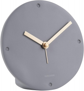 Karlsson alarm clock mantle 12 cm polyresin grey