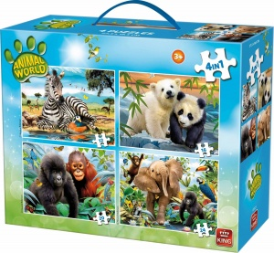 King legpuzzel 4-in-1 Animal World
