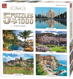 King legpuzzel Travel Collection 5 puzzels 1000 stukjes