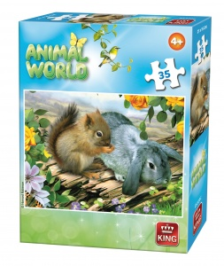King jigsaw puzzle Animal World squirrel and rabbit 35 pieces