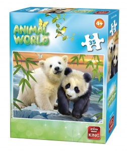 King jigsaw puzzle Animal World polar bear and panda 35 pieces