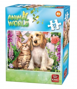 King jigsaw puzzle Animal World cat and dog 35 pieces