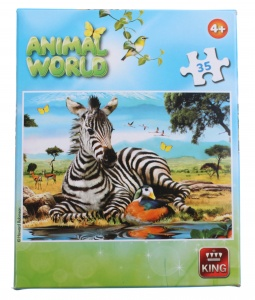 King jigsaw puzzle Animal World zebra 35 pieces