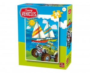 King legpuzzel Funny Vehicles -  Rescue Car 35 stuks