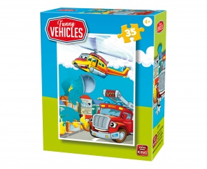 King legpuzzel Funny Vehicles - Fire Truck 35 stuks