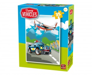 King legpuzzel Funny Vehicles - Police Rescue Team 35 stuks