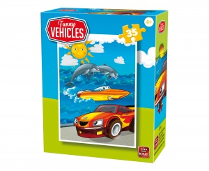 King legpuzzel Funny Vehicles - Race Car 35 stuks