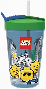 LEGO drinking cup with straw  Iconic blue/green