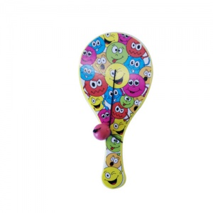 LG-Imports paddle with ball smileys 12 cm yellow