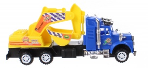 LG-Imports construction truck excavator yellow/blue 15 cm