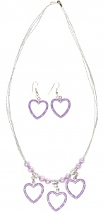 LG-Imports necklace with earrings Hearts purple 3-piece
