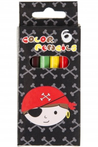 LG-Imports colored pencils pirate 6 pieces 9 cm