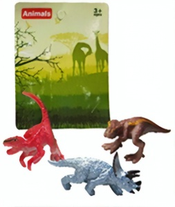 LG-Imports mini dinosaurs 3 piece 5 cm red/brown/blue