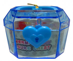 LG-Imports treasure chest with pearls girls 6 x 4.5 cm blue