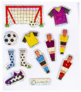 LG-Imports stickers glitter voetbal #2 junior 12-delig