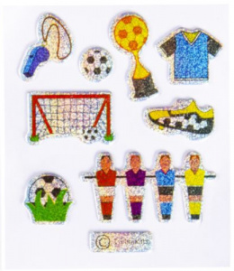 LG-Imports stickers glitter voetbal #1 junior 12-delig