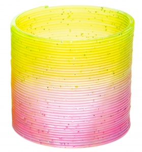 LG-Imports trapveer glitters geel/roze 6,5 cm