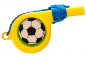 LG-Imports soccer flute with cord yellow 4 cm
