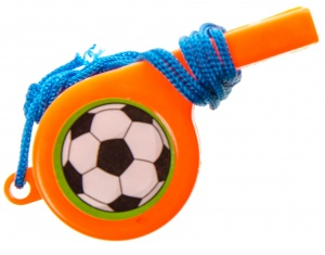 LG-Imports soccer flute with cord orange 4 cm