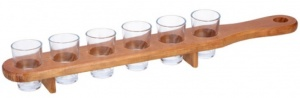 Lifetime Games drinks board 6 shot glasses 42 cm wood/glass brown