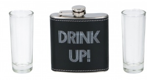 Lifetime Games hip flask with shot glasses 60 ml black 3-piece