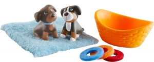 Little Friends poppenhuispop Pups junior bruin/oranje 5-delig