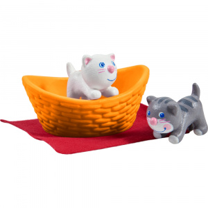 Little Friends poppenhuispoppen Kittens junior 3 cm grijs/wit