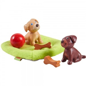 Little Friends poppenhuispoppen Puppy's junior 3,5 cm bruin