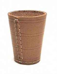 Longfield Games Dice cup natural leather brown 8,5 cm