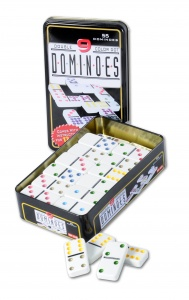 Longfield Games domino game double 9 junior 5 cm white 55 stones