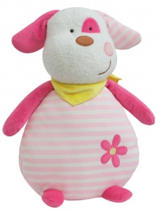 Luminou Glow In The Dark knuffel hond roze/wit 21 cm