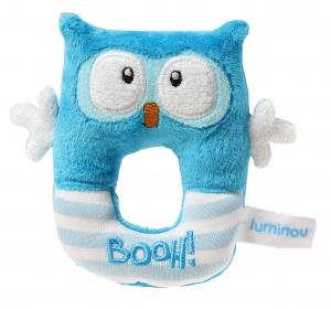 Luminou Glow In The Dark rammelaar uil blauw 12 cm