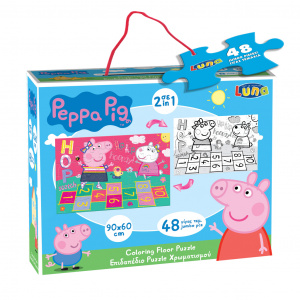Luna bodenpuzzle 2-in-1 Peppa Pig junior 90 x 60 cm 48-teilig
