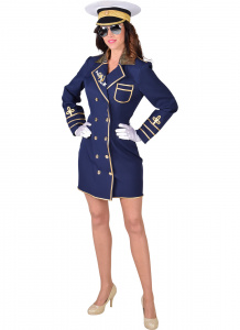 Magic Design verkleedjurk kapitein dames polyester navy
