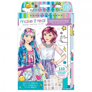 Make It Real kleur- en schetsboek Fashion Design - Digital Dream