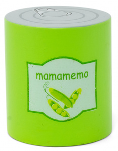 Mamamemo canned beans 6 cm wood green/silver