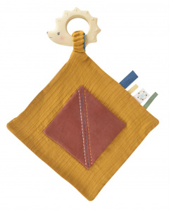 Meiya & Alvin cuddly blanket with teething ring 42 cm cotton brown