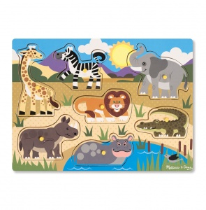 Melissa & Doug wooden shape puzzle safari 7-pieces